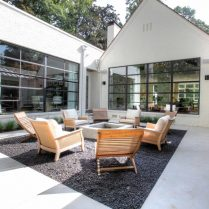 atlanta buckhead design by siegel design and construction shows this minimal and elegant sunken courtyard